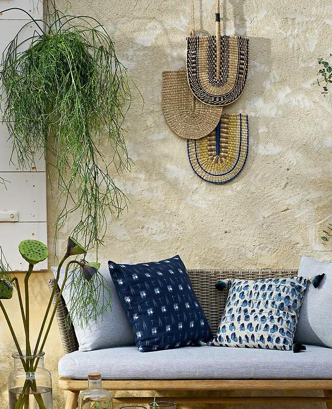 éventail mural herbier bleu jaune
