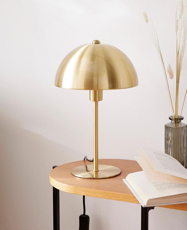 lampe champignon metal dore