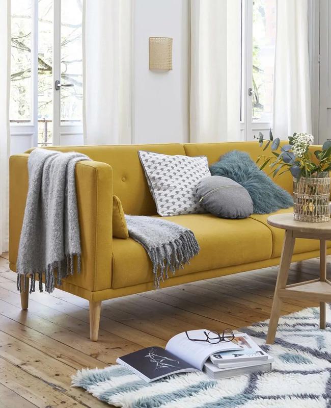 canape lit jaune moutarde