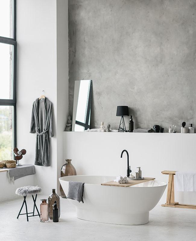 deco salle de bain mur beton cire gris