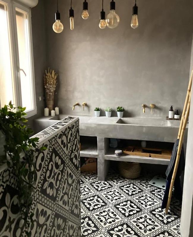 deco salle de bain beton carreaux de ciment